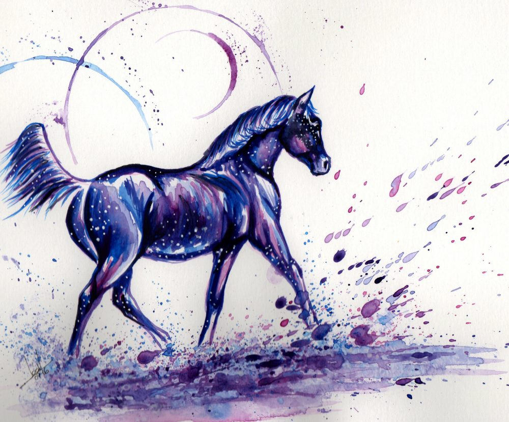cheval aquarelle galaxie