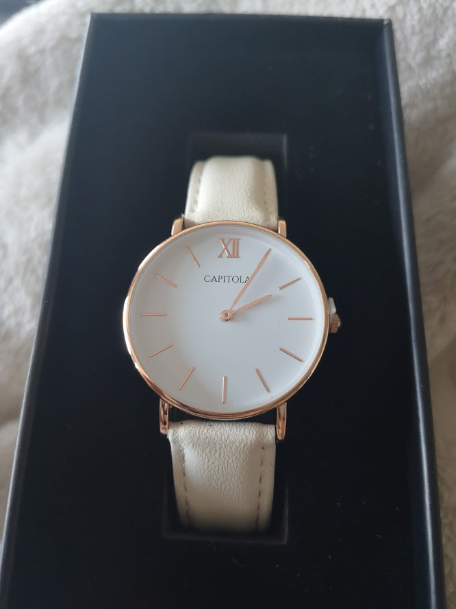 Capitola watch rose gold et velour blanc